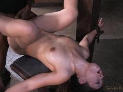 Two big dicks hammer a hot slut in bondage videos