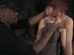 Redhead bound in the whore position and used hard videos