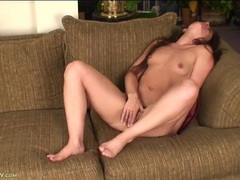 Naughty mommy with pierced nipples rubs her clit tubes