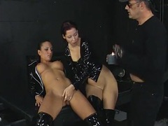 Threesome in the dungeon with black latex chicks movies at kilopics.net
