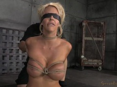 Skinny blonde bimbo put into beautiful rope bondage movies at find-best-videos.com