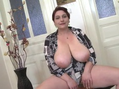 Mom fondles her huge saggy natural tits videos