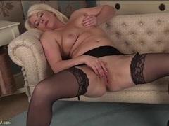 Curvy milf in stockings and a garter belt masturbates movies at find-best-panties.com
