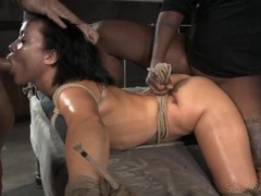 Mia austin deepthroats a dick in rope bondage videos