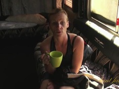 Mature blonde finishes her tea and gets naked videos