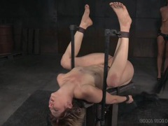 Bound chick gets a hard flogging on her naked parts videos