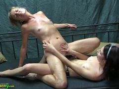 Black strapon cock fucks a mature lesbian pussy videos