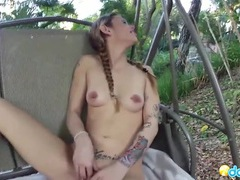 Naked gf in the backyard gives a hot blowjob videos