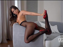 Leggy natalia forrest in gorgeous black pantyhose videos