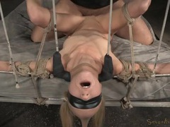 Rope bound and blindfolded girl used by two dicks videos
