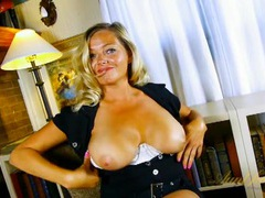 Amateur blonde milf chats and plays with her tits videos