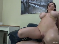 Curvy milf sara jay sits down on a stiff dick videos