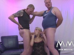 Flexible gangbang slut covered in hot cumshots videos
