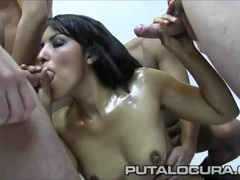 Oiled up slut in a blowbang takes lots of hot cumshots movies at find-best-mature.com