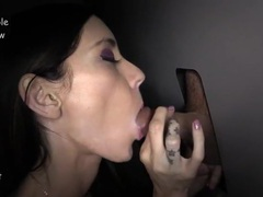 Pretty girl sucks four dicks at the gloryhole movies