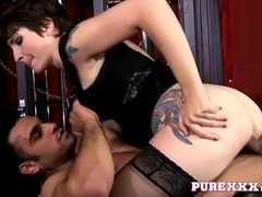 Inked babe in his dungeon takes cock from behind movies at find-best-videos.com