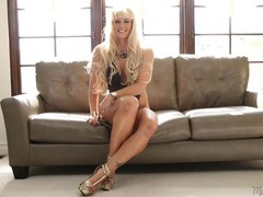 Leggy blonde mom is crazy hot in her interview videos