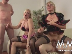 German cock whores share cum kisses in a foursome movies at sgirls.net