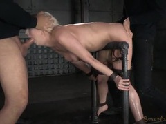 Bound slut spit roasted by her two masters videos