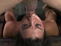 Cute sub girl in their dungeon gets fucked on bondage videos