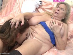Young lady and a fat granny go down on hot cunt movies at sgirls.net