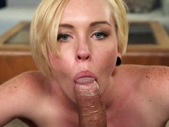 Freckled blonde cutie is great at sucking dick movies at sgirls.net