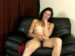 Cute and hairy milf talks as she hangs out naked videos