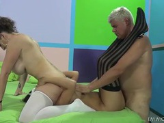 Stockings hottie feasts on cunt with a cock inside her movies at lingerie-mania.com