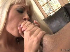 Blonde tries her best to deepthroat his cock videos