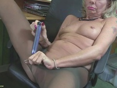 Mature tears off her pantyhose to use a toy videos