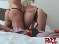 Girls in sexy red high heels kiss and fuck toys together videos