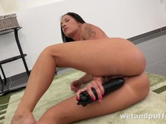 Big black dildo slowly fucks her juicy wet cunt videos