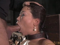 Bound asian drenched in spit as they face fuck her tubes at sgirls.net