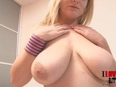 Big natural tits look sexy in her soft hands videos