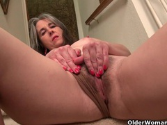 American milf kelli strips off and masturbates on the stairs videos