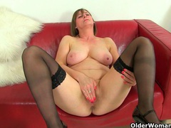 British milf jessica jay works her wet pussy movies at lingerie-mania.com