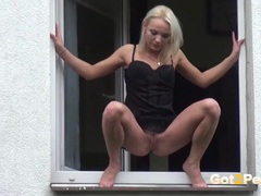 Blonde pees out the window of her apartment movies at kilopills.com