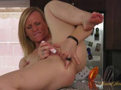 Hot solo milf on her kitchen counter and masturbating movies at kilopills.com