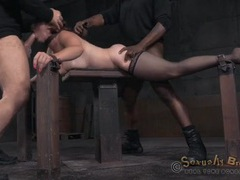 Spit roasted bondage slave used by two guys videos