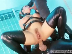Leather fetish threesome with a hot anal babe movies at kilopills.com