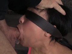 Sub slut opens up and guys fuck her face tubes