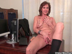 Old secretary kelli strips off and fingers her hairy pussy videos