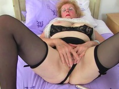 Huge clit ring on this dirty grandma videos