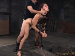 Skinny beauty has hardcore sex in bondage tubes