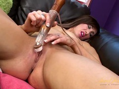 Pink lipstick girl pleasures her pussy with a toy videos