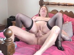 Curvy lady with a shaved pussy rides his fat rod videos