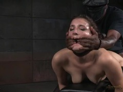 Cute bound girl spit roasted by two horny guys videos