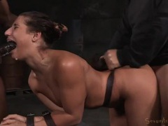 Big dicks spit roast a slut bound by leather straps videos
