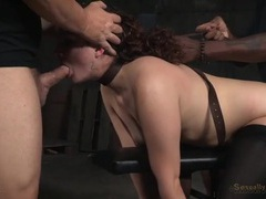 Curly hair girl in bondage used by hard dicks videos