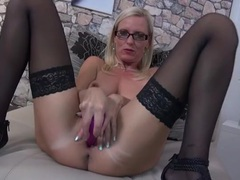 Dirty talking solo blonde milf fucks her toys tubes